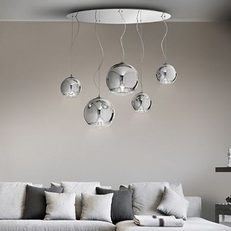 Ideal Lux Chrom Pendellampe Discovery 5-flammig bei Wohnzimmer Couch