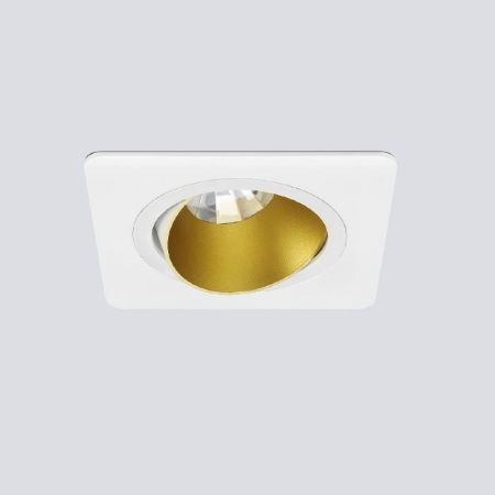 Swivelling recessed luminaire for ceiling installation in white/gold