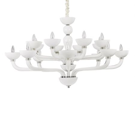 Ideal Lux glass chandelier Casanova white