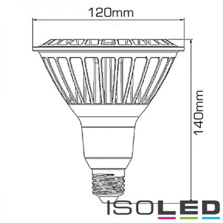 E27 PAR38 LED 16W reflector lamp 30°, dimmable