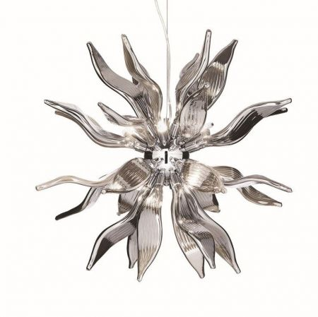 Ideal Lux smoked glass pendant lamp Leaves SP8