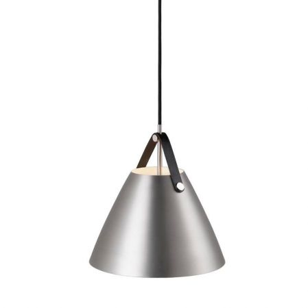 Pendant lamp Strap 27 brushed steel leather suspension in black