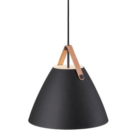 Pendant lamp Strap 36 black leather suspension in brown