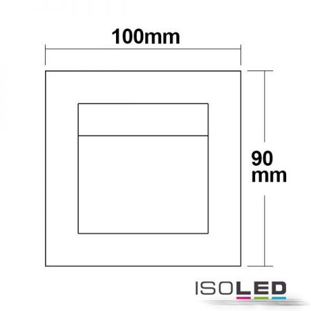 LED wall recessed luminaire square stainless steel, IP44