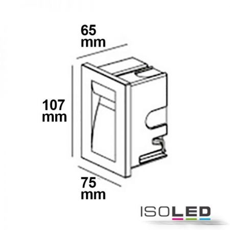 LED wall recessed lamp square white, IP65