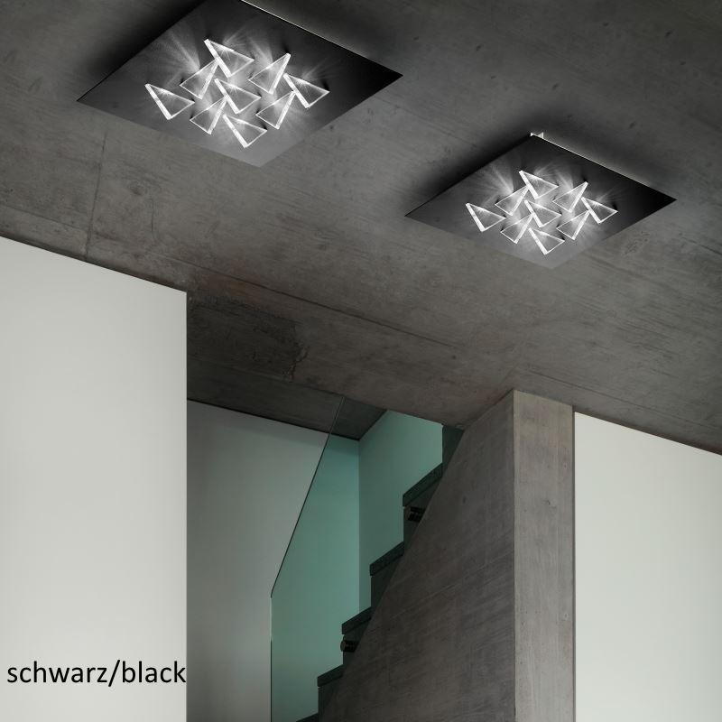 Braga Cristalli PL60 Schwarz: Eckige LED Deckenleuchte Mit Dreieckigen  Diffusor