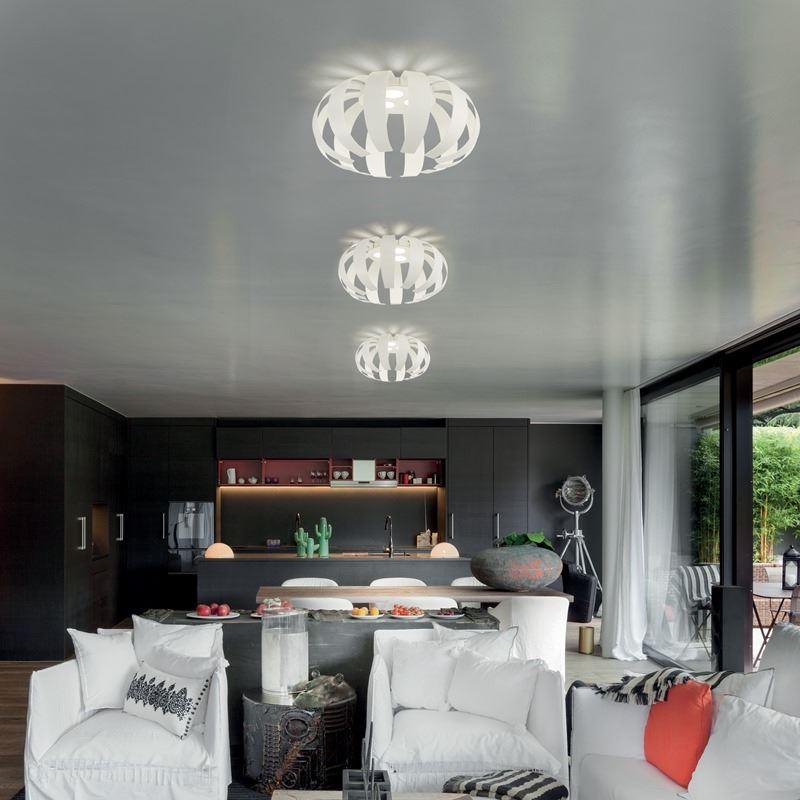 Runde Wohnzimmer LED Deckenleuchte Geo Braga PL50 In Weiß