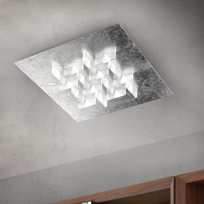 Braga Cristalli PL60 Eckige LED Deckenleuchte Blattsilber