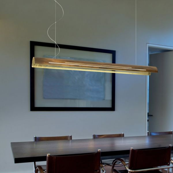 Braga long LED pendant light Bend oxydized/gold