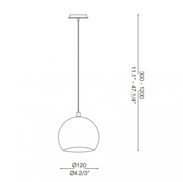 Ideal Lux globe pendant lamp Mr Jack chrome