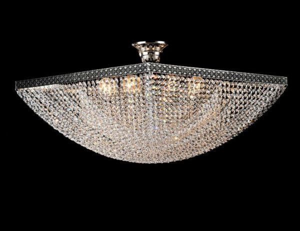 Maytoni crystal ceiling lamp Quadrato nickel