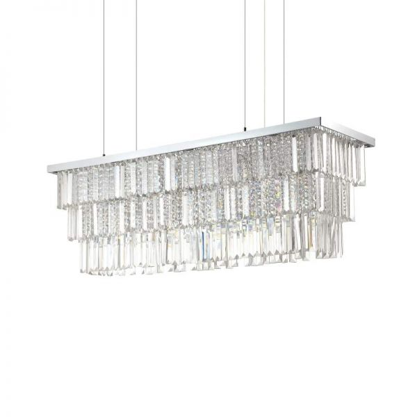 Ideal Lux square crystal chandelier Martinez L:103cm
