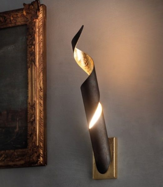 Truciolo LED Wandlampe von Braga lighting in dunkelbraun-blattgold