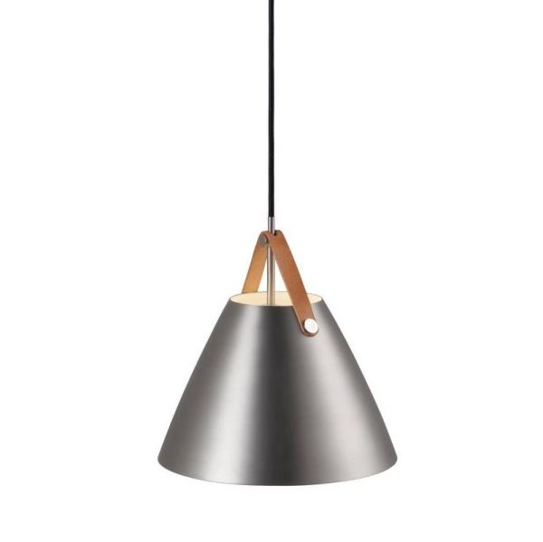 Pendant lamp Strap 27 brushed steel leather suspension in brown