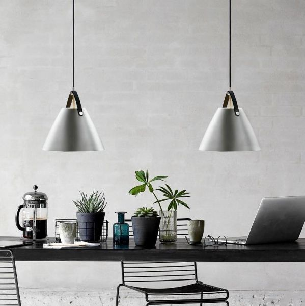 Pendant lamps Strap 36 in brushed steel for dining table