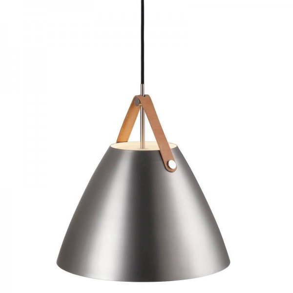 Pendant lamp Strap 36 brushed steel leather suspension in brown