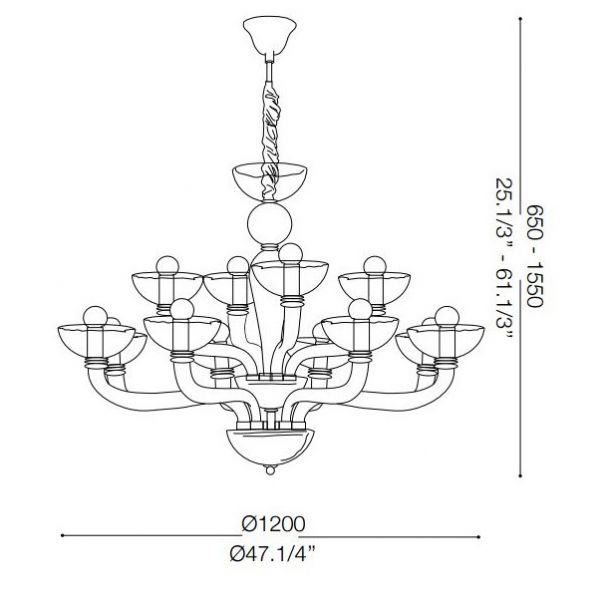 Ideal Lux chandelier Casanova smoked glass