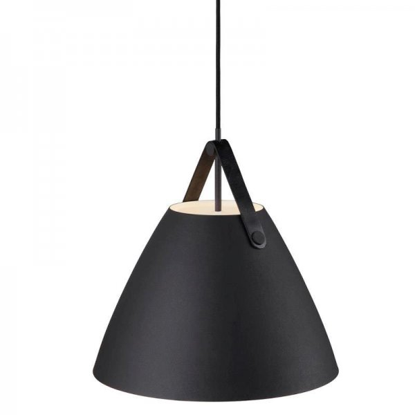 Pendant lamp Strap 36 black leather suspension in black